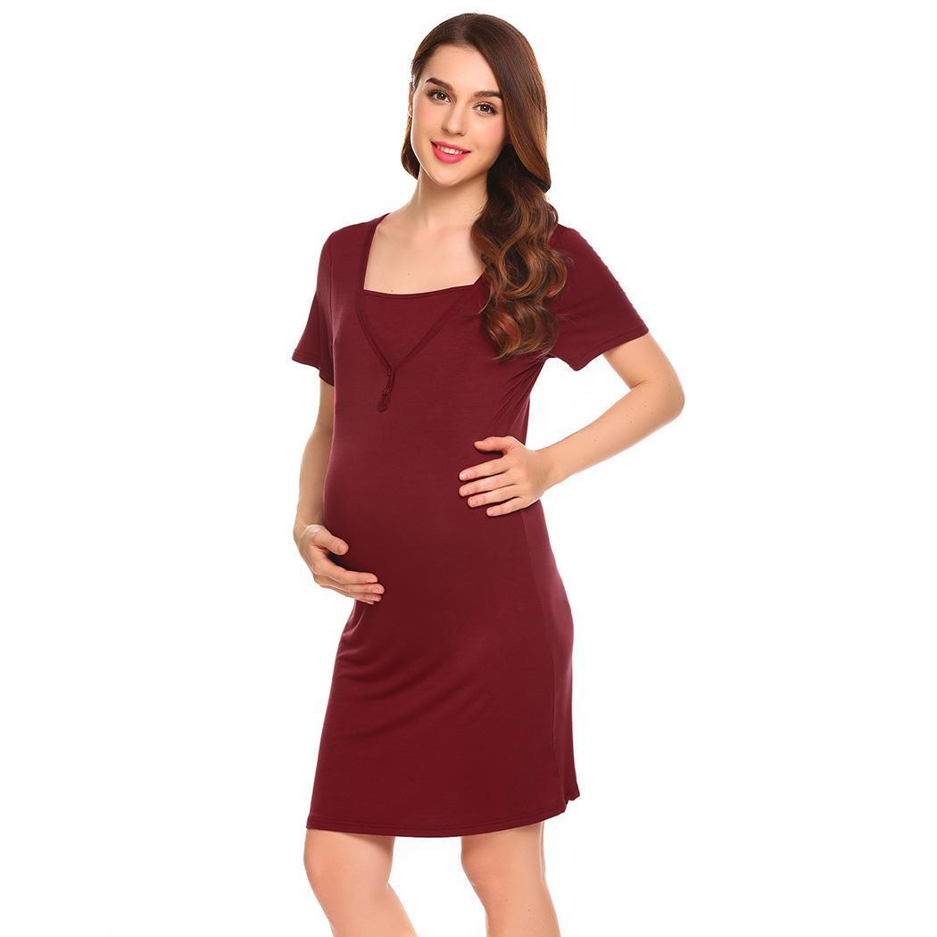 Ekouaer Soft Pregnant   Nightgown     Sleepshirts   Women Short Sleeve V-Neck Solid Woman Sleepwear Dress Home Casual Clothes