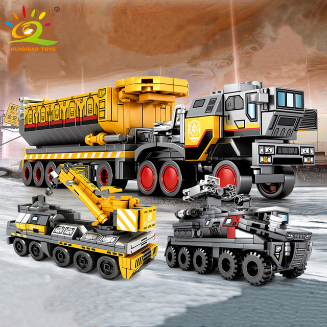 HUIQIBAO Movie Wandering Earth trucks Building Blocks City Crane Construction Bricks Educational Toys For Children