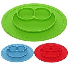 Mantel de Silicona de una sola pieza del Niño Del Cabrito Del Bebé Niños de Los Cabritos de Alimentación de Alimentos Plato de Mesa de Succión Antideslizante Impermeable Placas F3