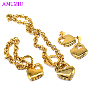 AMUMIU Heart Shaped Necklace E