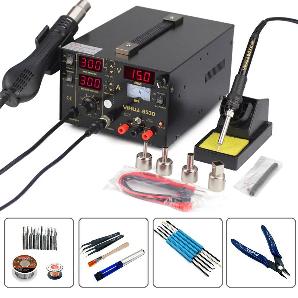 NEW YIHUA 853D 3in1 Hot Air Gun Rework Soldering Station Digital Display Temperature Control Power Supply Welding Repair Solder