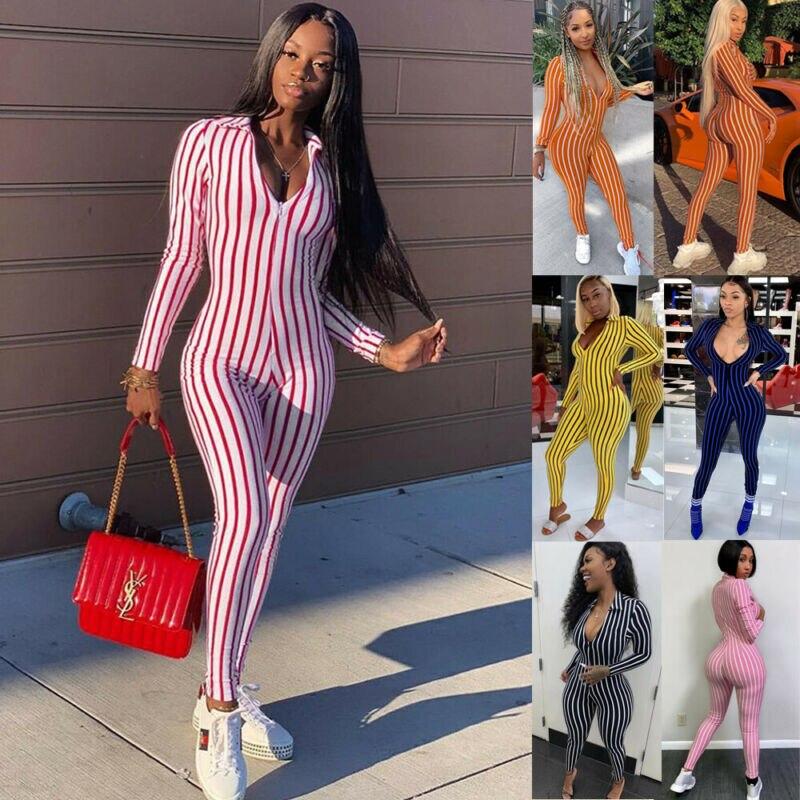 2019 Women Fashion Playsuit Jumpsuit Romper Summer Long Sleeve Slim Long Trousers Pants Club Party