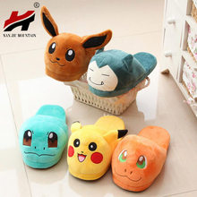 Women Anime Cartoon Pokemon Slippers Lovers Warm Woman Slippers Elf Ball Pikachu Go Plush Shoes Home House Slippers Children(China)