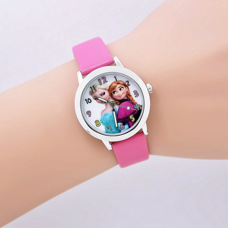 2016 New Cartoon Watch Princess Elsa Anna Watches Fashion Girl Student Cute Leather Sports Analog Wrist Watches relogio feminino 2016 new relojes cartoon children watch princess elsa anna watches fashion kids cute relogio leather quartz wristwatch girl gift