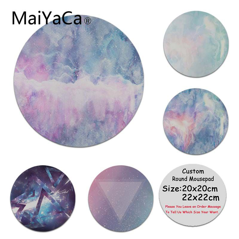 MaiYaCa Custom Skin Cool Starry Marble High Speed New Lockedge Mousepad Size for 200x200x2mm and 220x220x2mm Round Mousemats