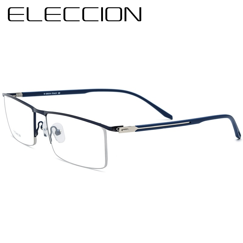 ELECCION Titanium Alloy Ultra Light Half Square Myopia Prescription Glasses Frame Spectacle Frames for Men Transparent