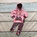 Día de San Valentín de primavera ropa niños de manga larga trajes de los bebés con capucha ropa trajes XOXO AZTECA niños boutique establece