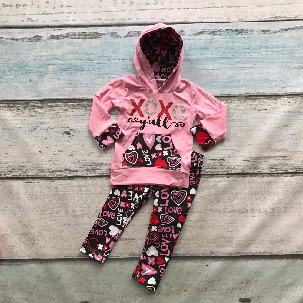 Spring Valentine's day clothes kids long sleeve outfits baby girls hoodie clothing XOXO outfits AZTEC children boutique sets 2017 new style spring autumn hoodie baby girl clothing set sequin lace long sleeve velour sports jacket long trousers outfits