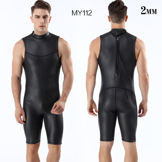 mens triathlon wetsuit  2mm CR short sleeveless one piece Smooth skin wetsuits Ultra elastic  diving suit