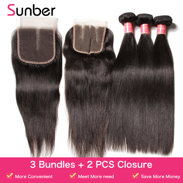 Sunber 3 Bundles With 2Pcs Closures Brazilian Straight Hair Bundle With Closure 100% Remy Human Hair Bundles With Lace Closure 1