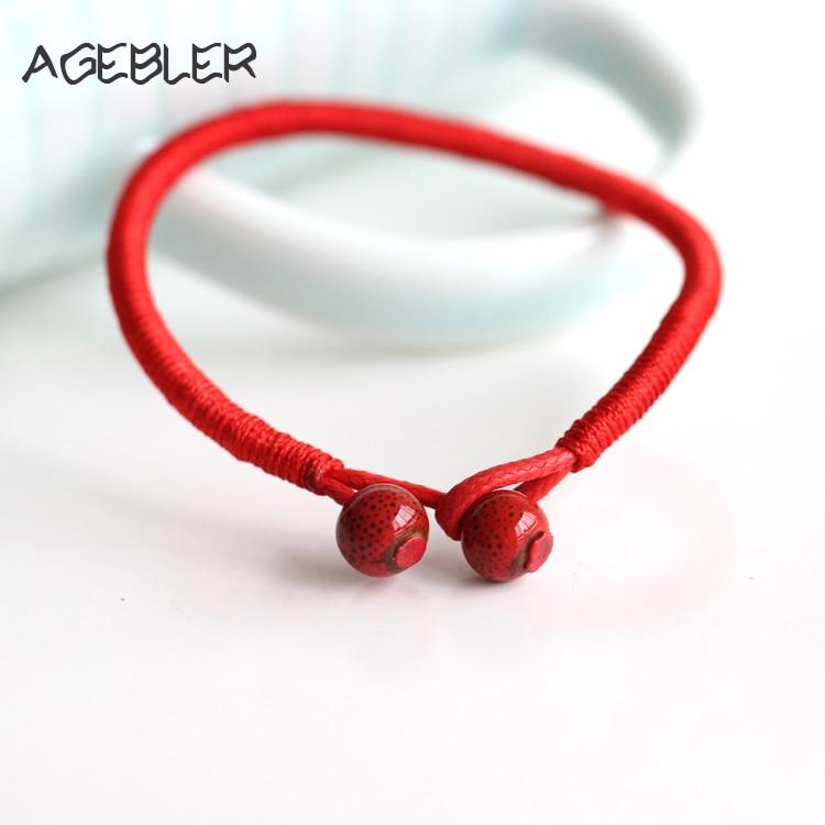2 Pçs/lote Mulheres Sorte Pulseiras Talão Corda Vermelha pulseiras & bangles Homens Artesanal de Cerâmica Amantes Acessórios Jóias Sorte