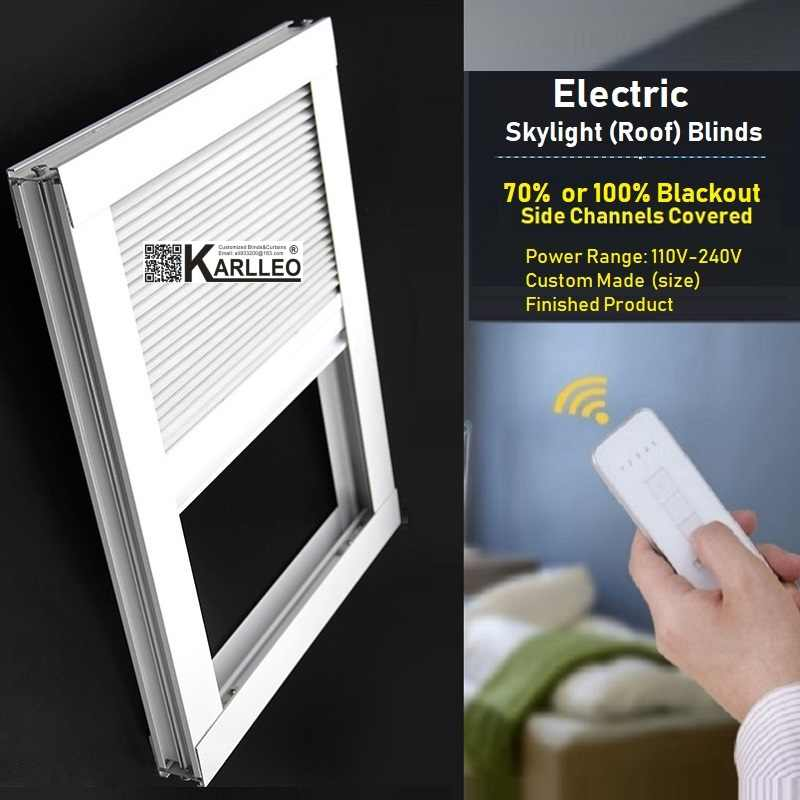 Motorized Skylight Roof Blackout Window Cellular Honeycomb Blinds Shades(remote control)finished blinds,Custom Made