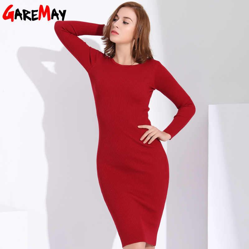43cac9d5475 Garemay Для женщин длинные вязаное платье с длинным рукавом платья футляр  для Для женщин туники Повседневная