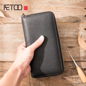 Image 1 - AETOO New wallet mens long leather multi function wallet mens clutch bag leather youth zipper wallet phone bag