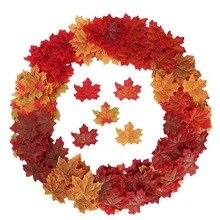 100 Pcs מגוון מעורב בסתיו בצבע מלאכותי מייפל עלים עבור חתונות אירועים ולקשט