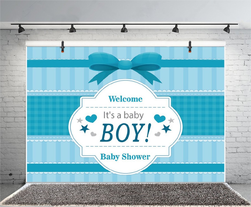 Laeacco Cartoon Bow Stripe Scene Boy Baby Shower Seamless Portrait Photography Background Photographic Backdrop For Photo Studio in Background from Consumer Electronics