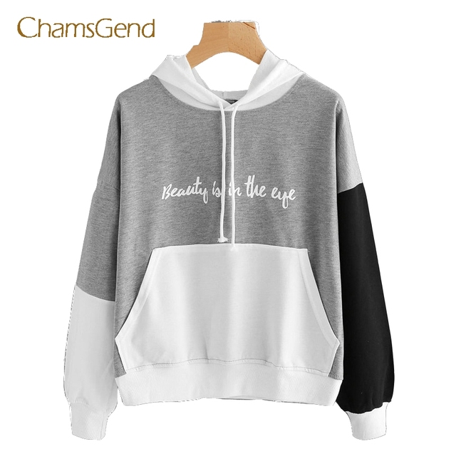 9c6edab67 Chamsgend Beauty Is In The Eye Patchwork Hoodie Sweatshirt Women Girl Autumn  Winter Casual Front Pocket Pullovers Coat 170907
