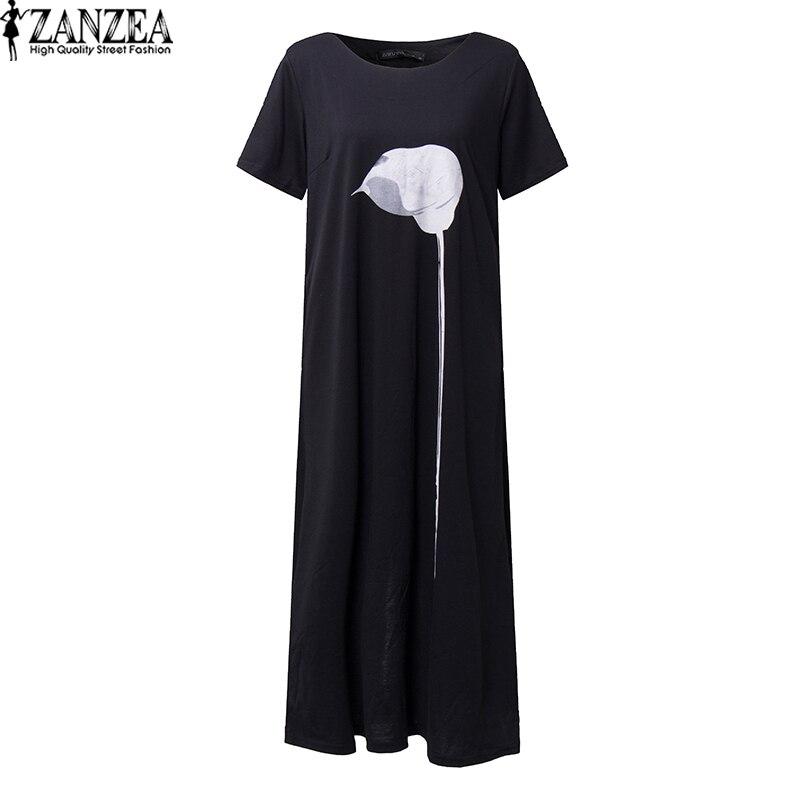 2018 ZANZEA Women O Neck Short Sleeve Vintage Print Long Shirt Dress Back Split Casual Party Summer Dress Mid Vestido Oversized