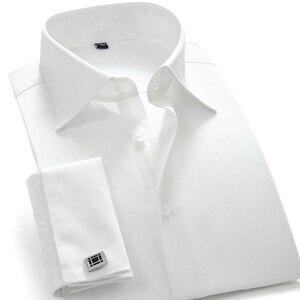 Męski francuski mankiet ubranie koszule stałe Twill męskie Party smoking ślubny koszule z spinki do mankietów łatwy w pielęgnacji