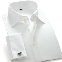 Men's French Cuff Dress Shirts Solid Twill Male Party Wedding Tuxedo Shirts with Cufflinks Easy Care