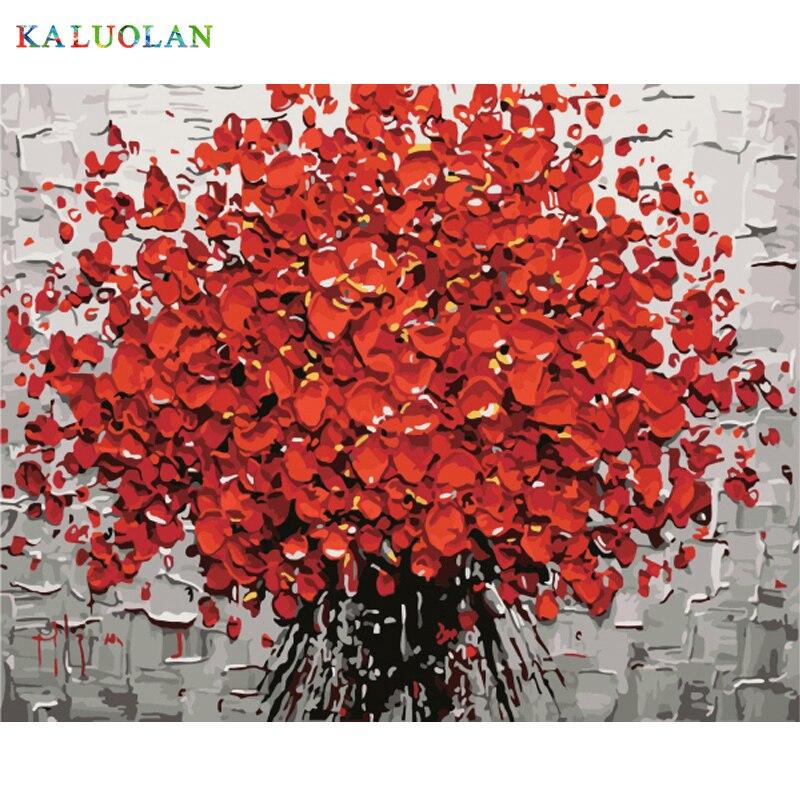 Rahmenlose Neue ankunft einzigartige geschenk Digitale Ölgemälde Auf Leinwand malerei durch zahlen dekorative bild 40*50-Blume 40X50 cm