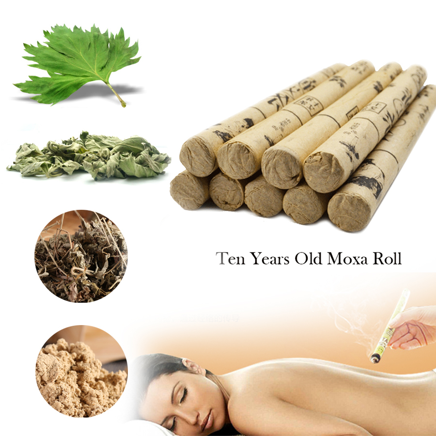10pcs/box TCM High-grade Ten Years Old Moxa Roll Moxa tube acupuncture Navel spa massage relax Anti-aging pure Moxa Moxibustion original moxa c320turbo