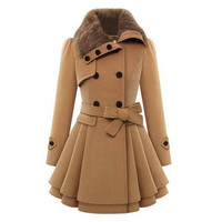 Women Thick Woolen Coat Winter Warm Jacket for Women Double Breasted Pea Casual Outwear with belt Solid Plus size S 5XL