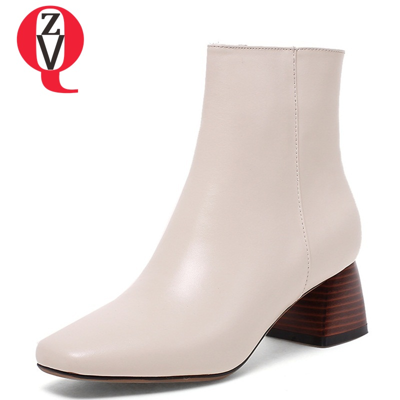 ZVQ women fashion ankle boots ladies genuine leather square heel black beige 2 color plus si soft leather winter shoes