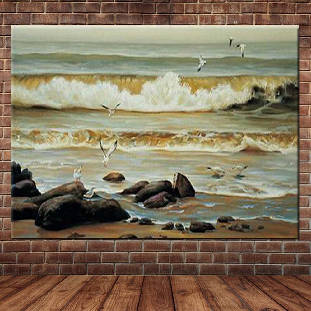 Ev ve Bahçe'ten Resim ve Hat'de El Boyalı Modern Soyut Deniz Manzarası Yağlıboya Plaj Deniz Dalga Duvar Resimleri Salonu Cafe Ofis Dekor Oturma Odası Ev Dekor'da  Grup 1