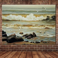 Hand Painted Modern Abstract Seascape Oil Painting Beach Sea Wave Wall Pictures Hall Cafe Office Decor