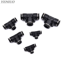 цена на Black 3 Way T shaped Tee Pneumatic Fittings PE 4mm to 16mm OD Hose Tube Push In Air Gas Fitting Quick Connector Adapters
