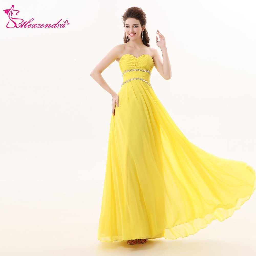 Alexzendra Yellow Chiffon Long Beach   Prom     Dresses   with Beaded Belt Custom Made Sweetheart   Prom   Gowns Party   Dress