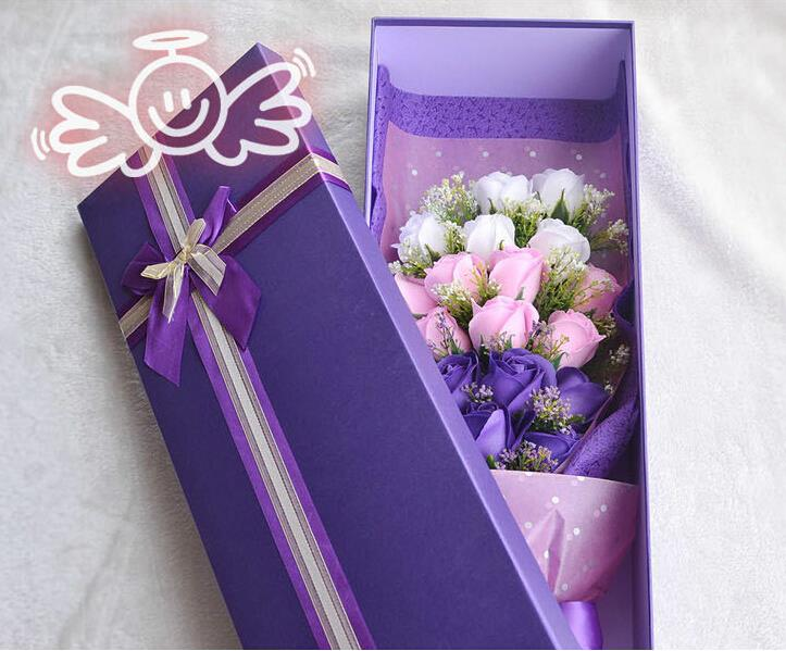 Gift Box Purple Rose Bouquet For Birthday Party Valentines Day Silk Ribbon Festivals Flowers In Artificial Dried From Home Garden