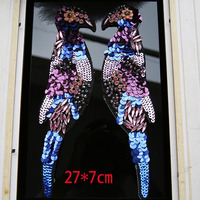 High Grade Diamond Large Applique Embroidered Sequins Bead Piece Embroidered Diy Clothing Textiles Bird Sequins Patch