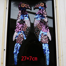 High grade Diamond large applique embroidered sequins bead piece diy clothing textiles bird patch A1335