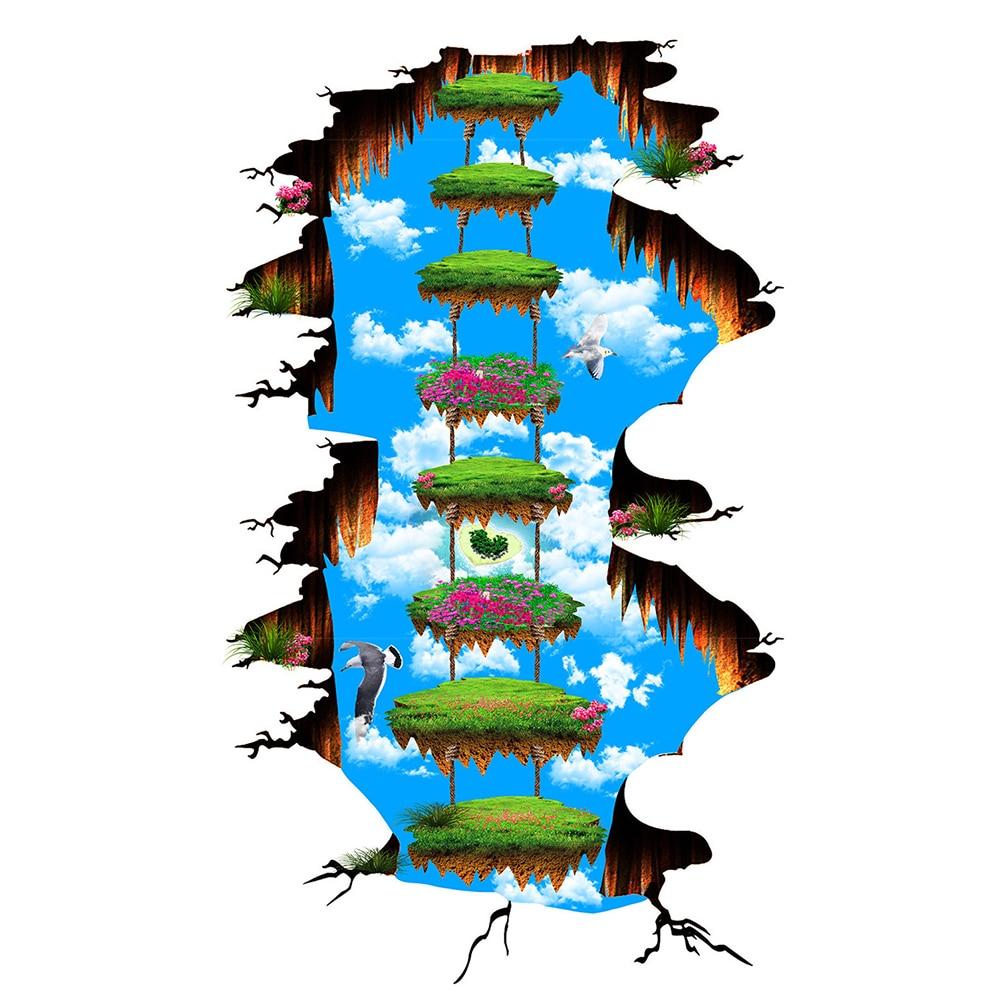 Plancher 3D papier peint personnalisé Photo moderne Art ciel fleurs Unique peinture murale PVC papier peint auto-adhésif sol papier peint 270 - 6