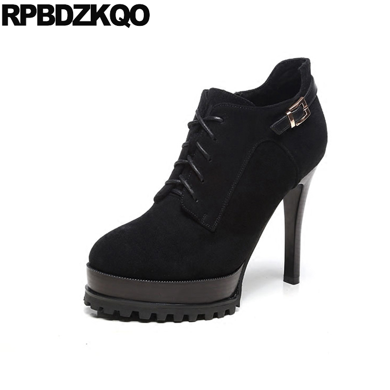 Ladies Lace Up Platform Zipper Booties Ankle Sexy Fashion Shoes Black Extreme Stiletto Suede Round Toe High Heel Winter Fur Side suede british chelsea platform booties shoes fall ankle thick round toe chunky brown front lace up casual boots autumn fashion