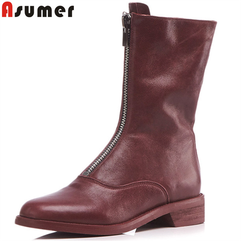 ASUMER size 34-43 fashion women boots round toe zip genuine leather boots low heels classic ankle boots ladies prom shoes smirnova big size 34 43 fashion shoes woman round toe women boots zip low heels mid calf boots natural genuine leather boots