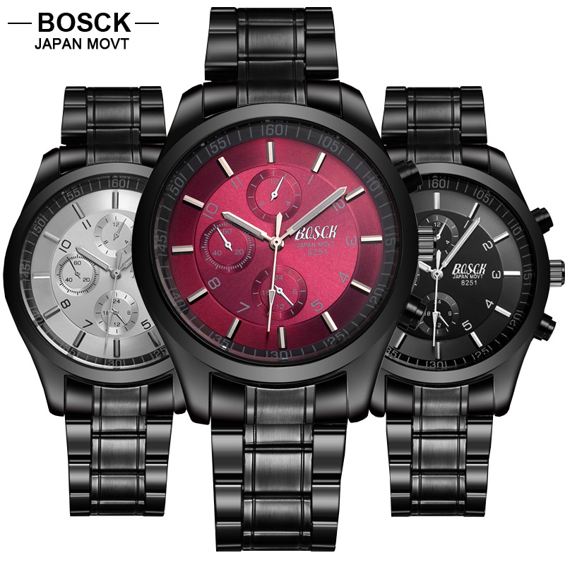 BOSCK Quartz hub Watch Men 3 Eye Time Waterproof Casual Male Role Watches Sports Black font