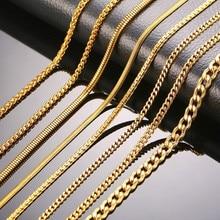 ZORCVENS hombres mujeres collar dorado serpiente Miami Cuba trigo Spiga Paima enlace caja redonda Cadena de bordillo collar de acero inoxidable