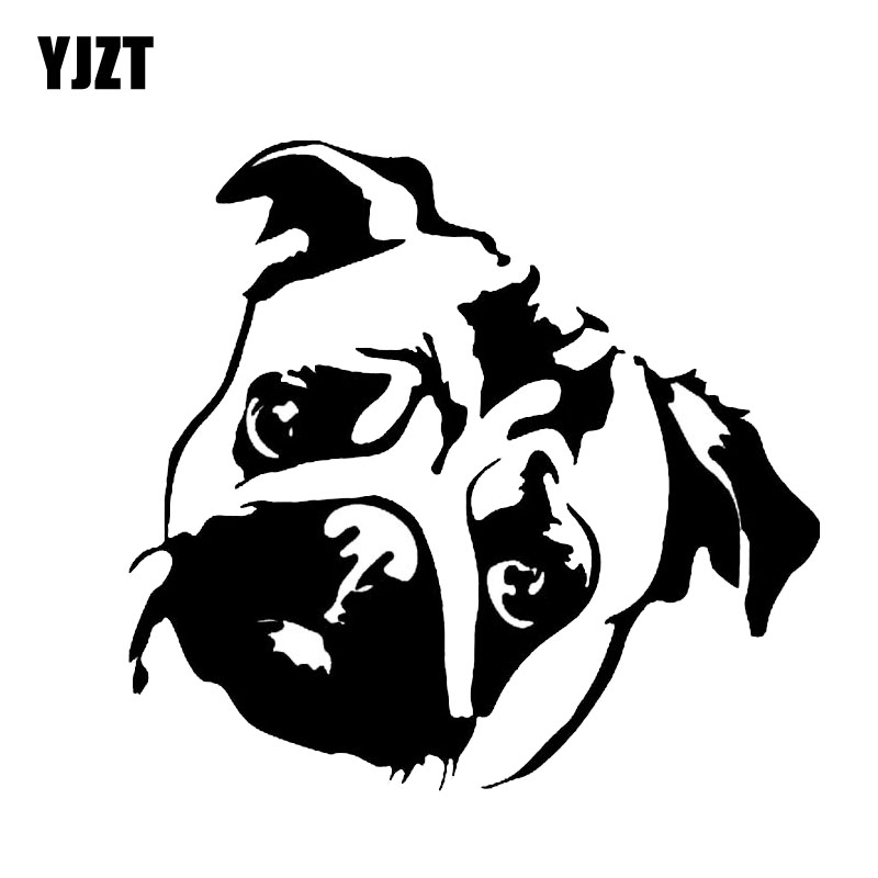 YJZT 15*14.1CM Cute Pug Dog Window Decoration Vinyl Decal Creative Animal Cartoon Car Sticker Black/Silver C6-1583