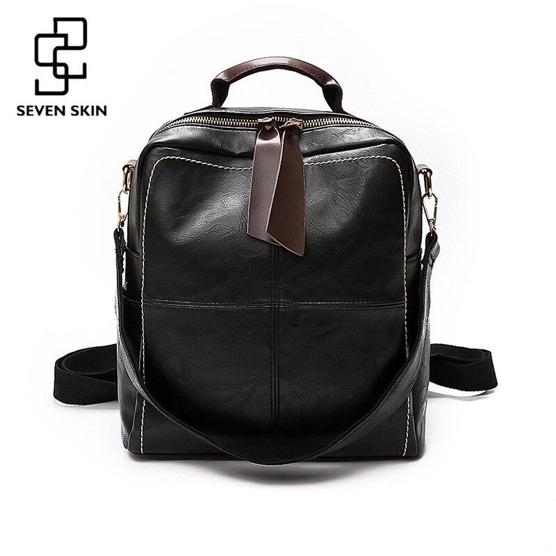 Sac à dos en cuir souple à sept peaux pour femmes Vintage grand sac à bandoulière pour femme sac d'école pour adolescentes filles sac à dos de voyage Mochila