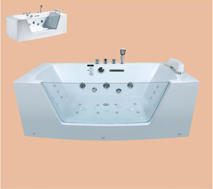 1700mm Square Surfing Whirlpool Bubble Bathtub Acrylic Hydromassage With Mixer Left /Right Skirts Option Tub NS1604