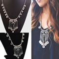 Vintage Necklaces Silver Boho Coins Turquoise Long Chain Black Beads Women Fashion Jewelry Necklace NL-0042