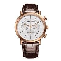 Риф Тигр/RT ультра тонкий бизнес часы для мужчин кварцевый хронограф часы с датой розовое золото кожаный ремешок часы RGA162