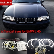 HochiTech WHITE 6000K CCFL Headlight Halo Angel Demon Eyes Kit angel eyes light for BMW E46 NON PROJECT Coupe Sedan