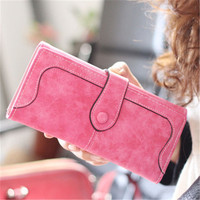 Kagome New Arrive Fashion Retro Matte Stitching Wallet Women Long Purse Clutch Women Casual Hasp Dollar