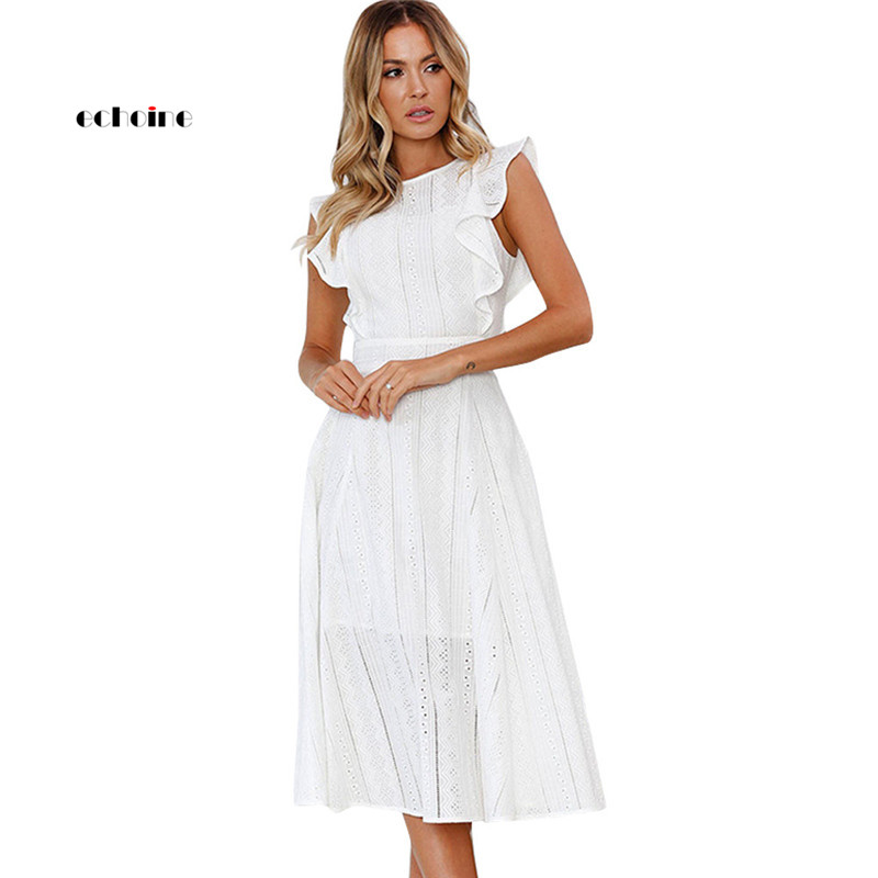 Echoine Party Princess Dress Women O-Neck Ruffle Sleeve Lace Hollow Out Zipper Knee-Length Elegant Ladies Evening Sweet Vestidos