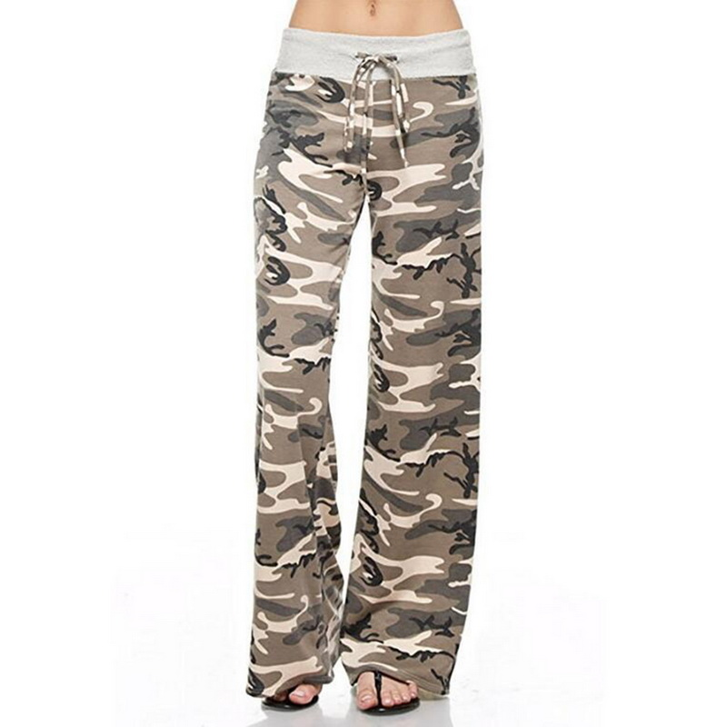 LITTHING Camo Printed Blocked   Wide     Leg     Pants   Women Summer Streetwear High Waist   Pants   Elastic Casual Drawstring Long Trousers