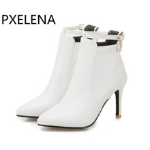 PXELENA Women Boots Winter Ankle Boots High Heels White Boots Ladies Autumn Shoes Pointed Toe Handmade Shoes Pink Black 34 43